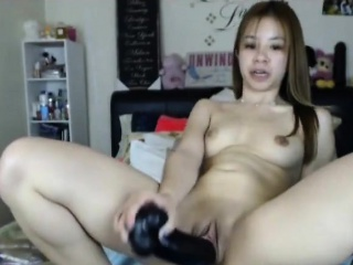 Skinny Asian girl toys creampie pussy primarily webcam