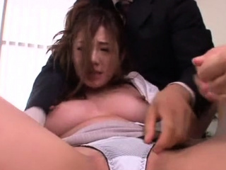 Japanese office chick relaxes while getting twat teased