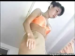 Tiny brunette asian neonate gets caught part1